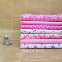 """Pink 7 Assorted Pre Cut 10"""" Squares Quilting Cotton Fabric"""