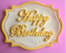 Happy Birthday Plaque Silicone Mold for Fondant, Gum Paste, Chocolate, Crafts