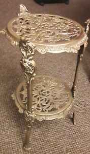 Antique-Arts-amp-Crafts-2-tier-Solid-Brass-Plant-Stand-Table-Cherubs-Claw-feet-VGC