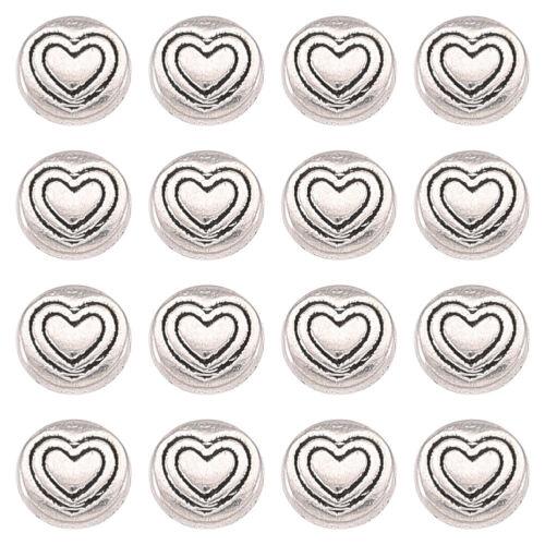 50pc Perlas de Plata Tibetana libre de plomo plana redonda con Corazón De Plata Antigua 6.5mm