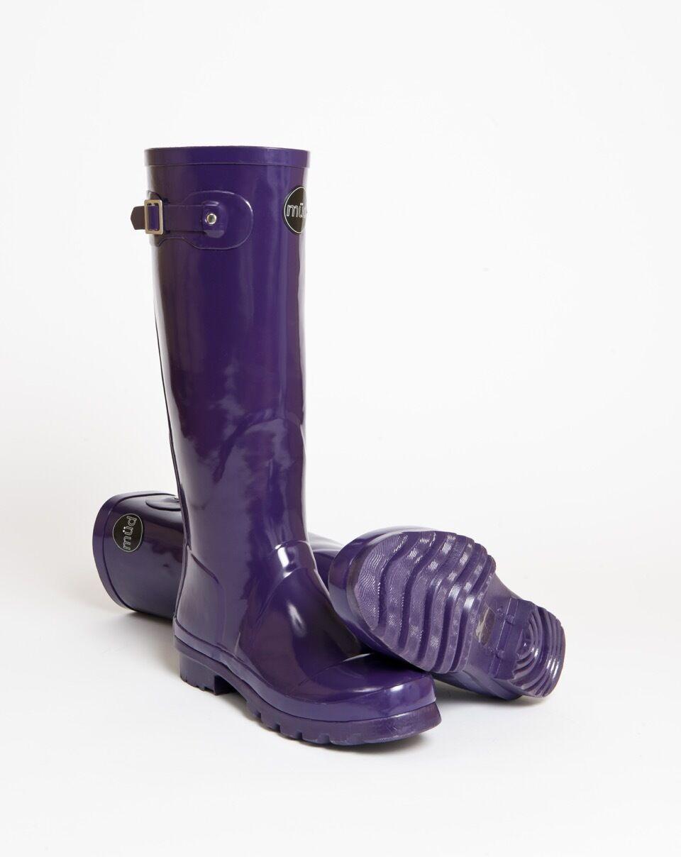 müd Designer Wellington Stiefel - Rubber - Purple Slim Boot with Buckle