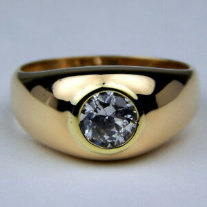 Mens-1-20-Ct-Round-Cut-Diamond-Solitaire-Engagement-Ring-14K-Yellow-Gold-Finish