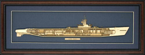 Wood Cutaway Model of WW II Submarine USS Tench (SS-417) - Made in the USA