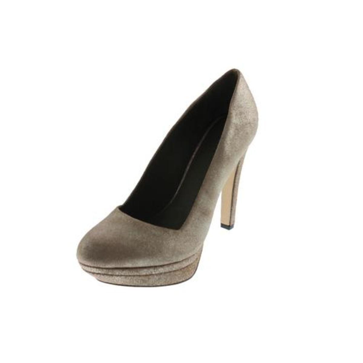 New DIESEL DIESEL DIESEL Melpink Ashly Metallic Brown Silver Leather Platform Pumps Heels 6 e26529