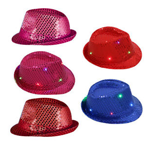f2073871d70 LED light up Glitter Sequins Cap Stage Dance Show Party Jazz Hats Hi ...