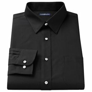 4XLT-Big-amp-Tall-Croft-amp-Barrow-BLACK-Easy-Care-Point-Collar-Dress-Shirt-20-36-7T