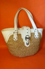 MICHAEL Kors Santorini Woven Straw Ivory Cream Patent LeatherTote Beach Shop Bag