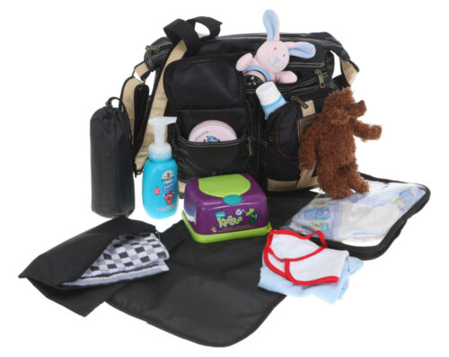 Wickeltasche ELEPHANT OUTDOOR Babywickeltasche Baby Tasche 3699 SCHWARZ 6 Teile