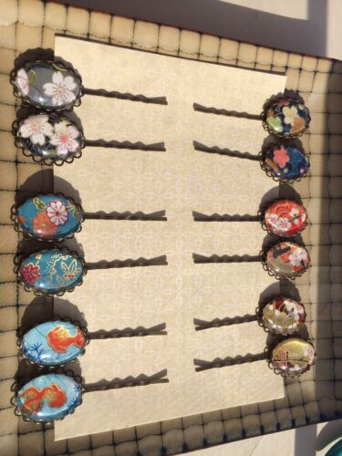 1 Pair Handmade Altered Art 18x25 Cabochons On Lace Edged Cameo Bobby Pins