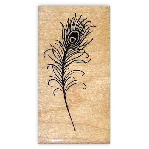 fantasy Peacock Feather lg bridal mounted rubber stamp bird #18 wedding