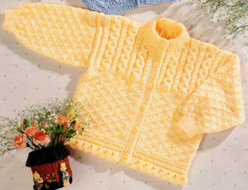 """Lace or Rib Border 26/"""" To Knit 4Ply//DK-Cable /& Diamond 16/"""" Baby Cardigans"""