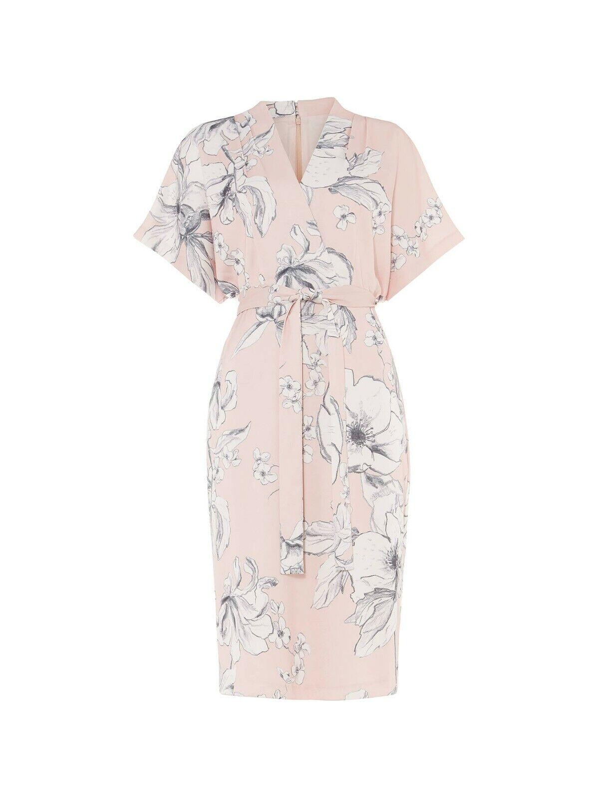 Nouveau Phase Eight Paige Floral Pâle Abricot Robe Tailles UK 14