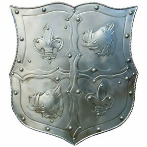 """Medieval shield with coat of arms """"boar head with Lilien Knight Warrior shield"""