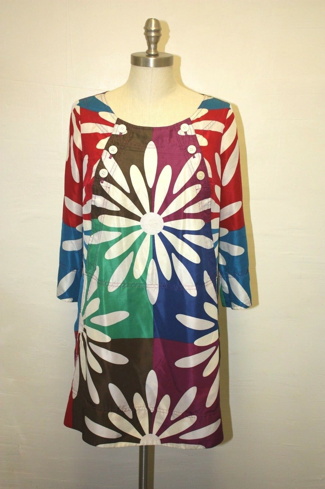 EUC MARC BY MARC JACOBS SILK FLORAL MULTI COLOR LOOSE SHIFT DRESS - SMALL 4 6