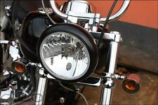 "7 "" Scheinwerfer Klarglas Schwarz Honda Suzuki Kawasaki Bobber Chopper 943206"