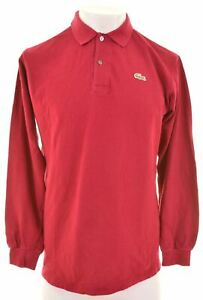 LACOSTE-Mens-Polo-Shirt-Long-Sleeve-Size-5-Medium-Maroon-Cotton-AY08