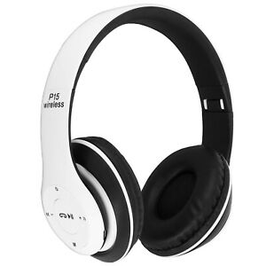 Casque-Audio-Sans-Fil-Bluetooth-4-0-jack-3-5-mm-micro-SD-radio-FM-P15-Blanc