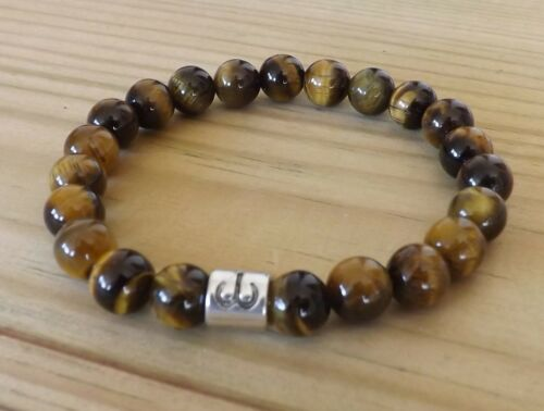 Anti-Anxiety Tiger/'s Eye 8mm Gemstone Zodiac Bracelet Stacking Birth Month Sign