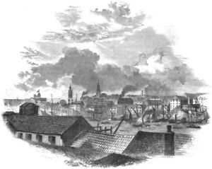 Northumberland. Newcastle. Newcastle, From Hilgate 1850 Old Antique Print