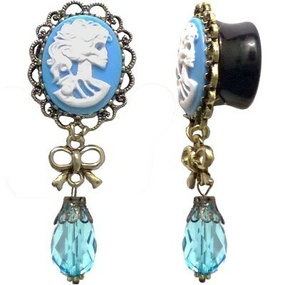 Pair Acrylic Ear Plugs - Saddle Fit Gauges Tunnels Earrings - Blue Cameo Pendant