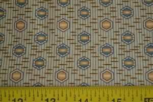 By-1-2-Yd-Tan-Gold-Blue-Brown-Quilting-Andover-Morton-Sweet-Emile-5324-W-B200