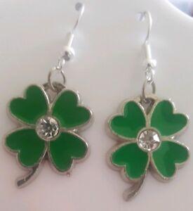 Patricks Day Jewelry Lucky Shamrock Earrings St