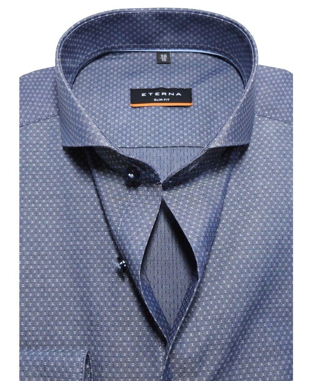 Eterna Slim Fit Langarmhemd Stretch blaugrau Minidessin ÄL ÄL ÄL 67cm Gr. 38 bis 44 | Ausgezeichnetes Preis  300a42