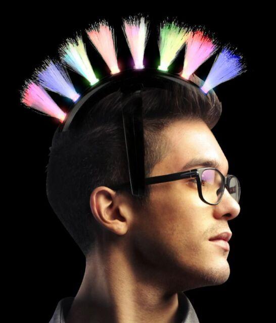 2 pks LED Light Up Fiber Optic Mohawk Headband Party Rave birthday holiday gift