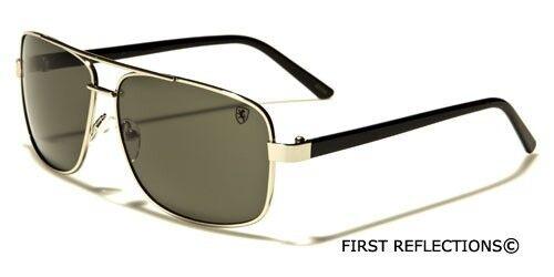 Square Retro 80s Aviator Sunglasses Khan Mens Womens Fashion Glasses Black Gold