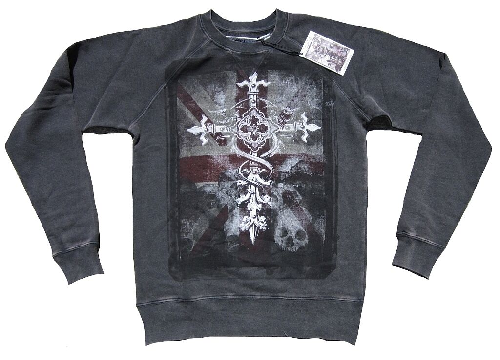 Vintage AMPLIFIED Saint&Sinners UK Flag Gothic Cross Skull Jumper Sweat Shirt S