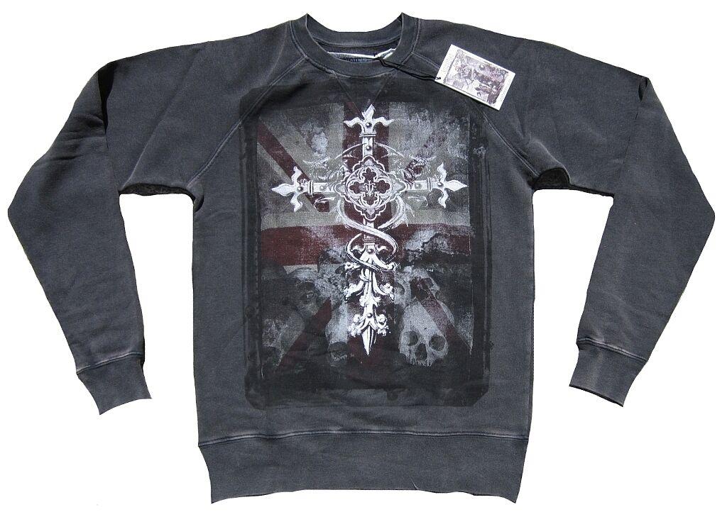 Vintage AMPLIFIED Saint&Sinners UK Flag Gothic Cross Skull Jumper Sweat Shirt S
