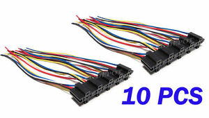 EXTRA LONG 5-WIRE RELAY SOCKETS CONNECTOR 12 VOLT CAR ALARM AUTOMOTIVE PLUG 10