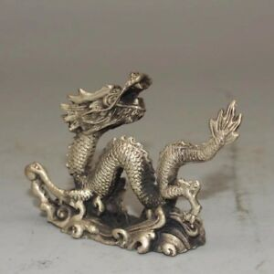 Chinese-Antique-White-copper-hand-built-lucky-dragon-Home-office-decoration
