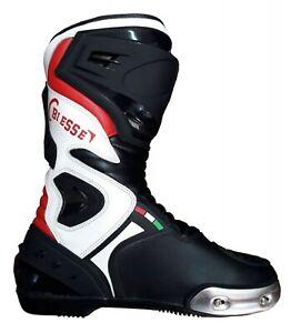 Stivali-Pista-Pelle-Racing-Moto-Slider-Cambiabile-Tecnico-Perfessionali-41-42-43