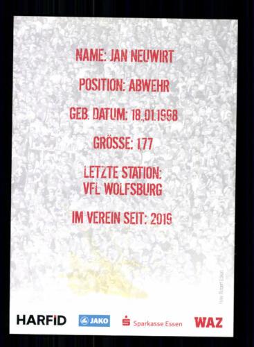 Jan Neuwirt   Autogrammkarte Rot Weiss Essen 2019-20 Original Signiert