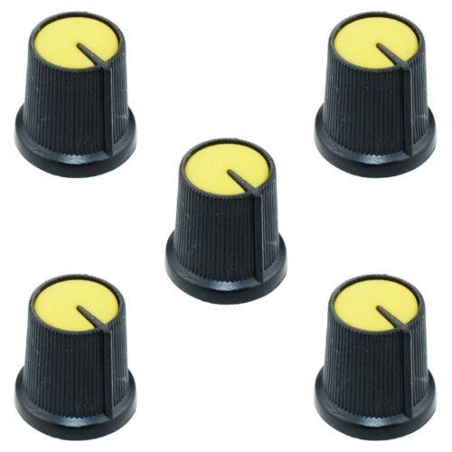 5 x jaune 6mm pointeur potentiomètre bouton de commande