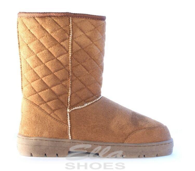 Ella Perth Chestnut Ladies Vegan Boots Slip On Ankle Fax Fur Boot