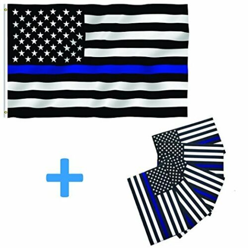 3x5 USA Police Thin Blue Line Flag Memorial Law Enforcement Grommets w// 5 Decals