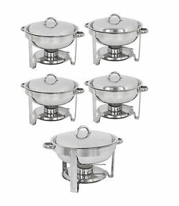 5 pack round chafing dish buffet chafer warmer set w lid 5 quart rh ebay com chafing dish buffet set party city chafing dish buffet set walmart