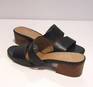 Franco-Sarto-Women-039-s-039-Tallen-039-Black-Leather-Double-Strap-Sandals-Block-Heel-7-5
