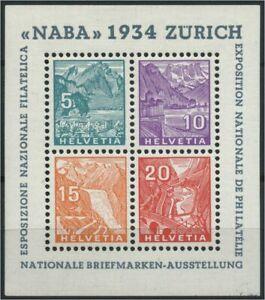 SCHWEIZ-1934-Block-1-Haftstelle-Falz-106819