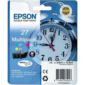 Original-Epson-27-Cyan-Magenta-Gelb-Tintenpatronen-Multipack-C13T27054010