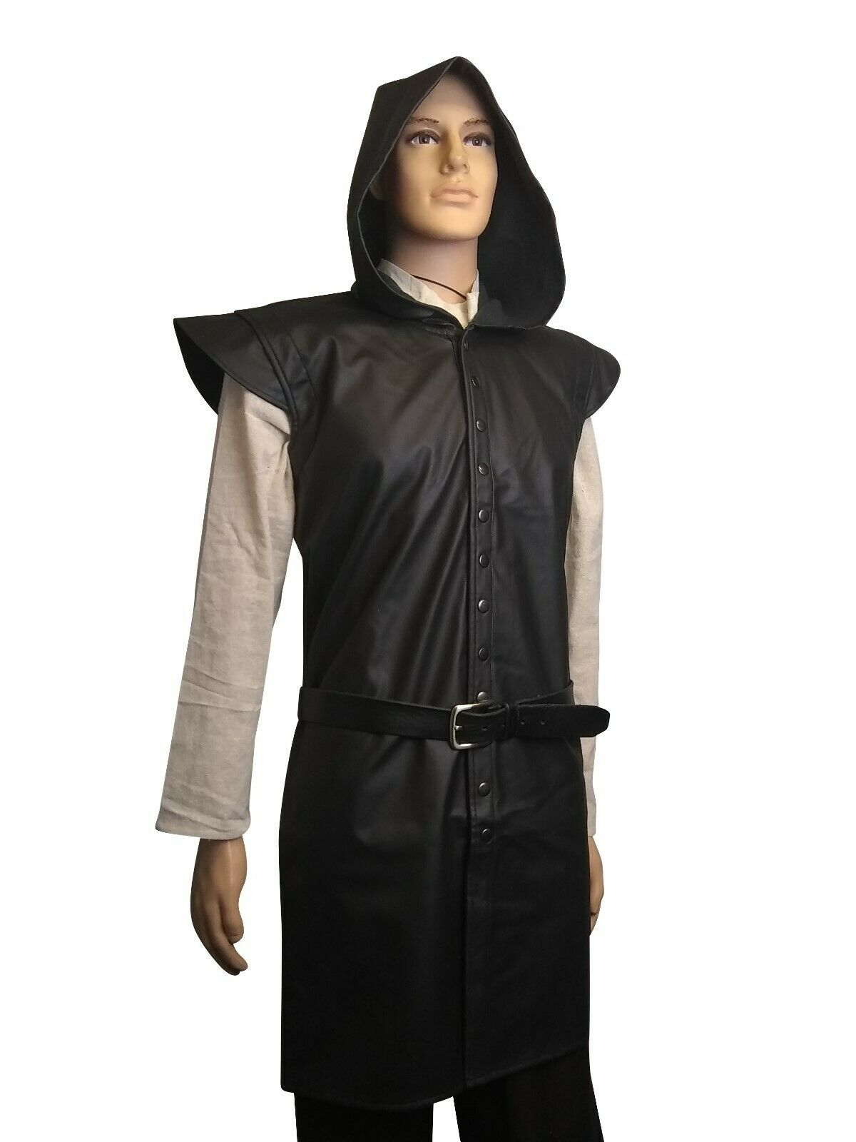 LARP Medieval Faux Leather Surcoat Armour Rogue Thief Black Brown in 2 Size