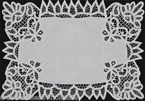 Battenburg-Lace-White-Fabric-Placemat-12x18-034-or-14x20-034-Hand-Embroidery