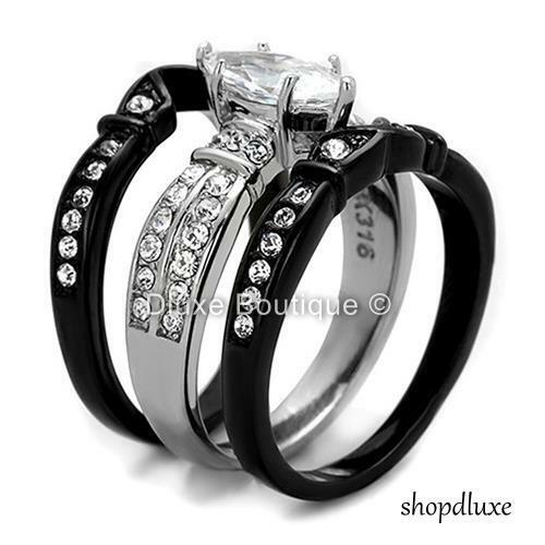 HIS HERS 4 PC BLACK STAINLESS STEEL /& TITANIUM WEDDING ENGAGEMENT RING BAND SET