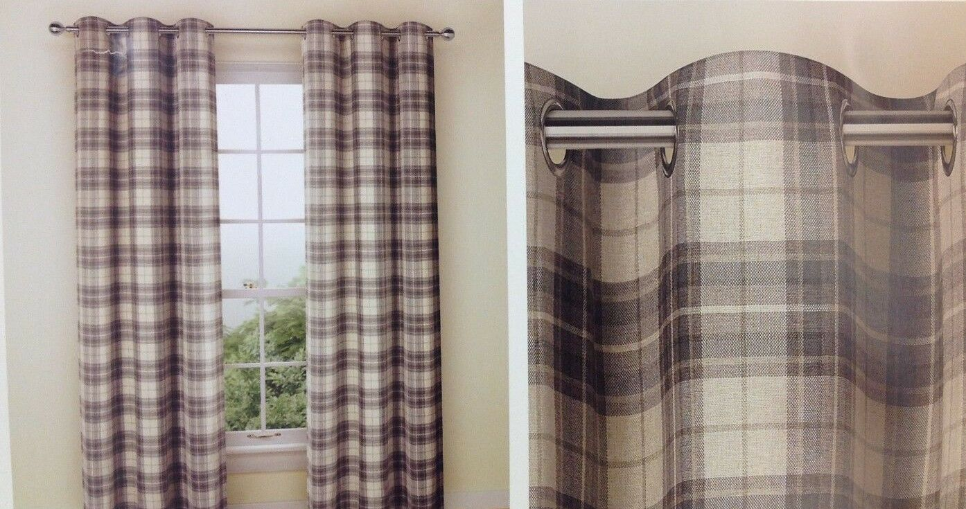 Marks & Spencer Curtains Tartan grigio Eyelet 63 x72  NEW (A)