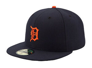 New Era 59Fifty MLB Cap Detroit Tigers Road AC On Field Fitted Hat - Navy Blue