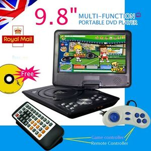 9-8-Inch-Portable-DVD-Player-Rechargeable-Swivel-Screen-In-Car-Charger-USB-SD