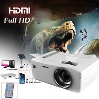 Full HD 1080P LED LCD Mini Home Projector Theater Cinema Airplay HDMI VGA USB SD