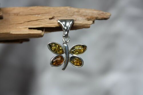 Earrings available BUTTERFLY GREEN BALTIC AMBER PENDANT 925 STERLING SILVER